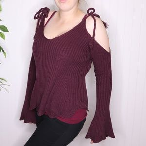 L.A. Hearts Cropped Cold Shoulder Sweater Size M